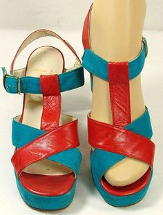 Vintage 1960s Blue Suede & Red Leather Platform Sandal Shoes Chunky Heel