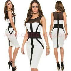 d18bb9013  Sofisticado  vestido de tubo sin mangas con  cremallera en la  espalda