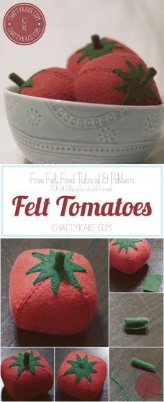 Love Make Believe: Felt Tomato Pattern. So fun I want to make way more then 3 for my set.