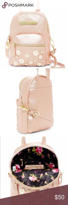 994c1a62342c Betsy Johnson mini backpack. NWT Betsy Johnson mini backpack. Dainty pearls  add glamour to