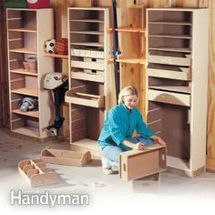 Possible Craft Room Storage? this adjustable storage system is perfect for organizing all of the odds and ends that clutter up your garage. customize these towers to fit your needs and you'll have a tidy garage in no time! Workshop Storage, Tool Storage, Garage Storage, Workshop Organization, Workshop Ideas, Garage Workshop, Storage Room, Dremel, Garage Organisation