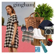 """""""Gingham Xx"""" by erinmccahill ❤ liked on Polyvore featuring William Stafford, Corey Lynn Calter, Pottery Barn, Picnic Time, Converse, Burberry, Fuji, Alice + Olivia, S'well and gingham"""