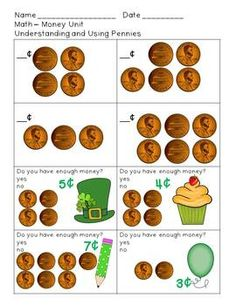 1st grade money activities packet - includes worksheets and sorting cards to count various collections of coins