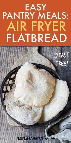 This quick & easy Air Fryer flatbread recipe requires only 2 basic ingredients, one bowl & is ready in mins. A perfect kid friendly recipe, this is a homemade yogurt flatbread that you can cook with the family. This tasty greek, yeast free flatbread is affordable & super versatile too. Serve Air Fryer Bread for breakfast, lunch, dinner, as a pizza base & snacks! Click through to learn how to make flatbreads dough!! #flatbread #easybreadrecipe #quickbread #pantrystaples #pantryrecipes Yogurt Flatbread Recipe, Easy Flatbread Recipes, Easy Bread Recipes, Air Fryer Dinner Recipes, Air Fryer Recipes, Air Fryer Healthy, Homemade Yogurt, Food Staples, Afternoon Snacks
