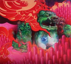 Allan Innman, Hell Hounds, oil on canvas mounted to panel, 2015 Web Inspiration, Psychedelic, Find Art, Oil On Canvas, Contemporary Art, Street Art, Fancy, Drawings, Artist