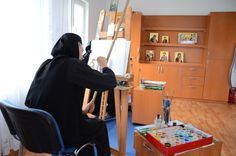 Painting in the Icon Workshop Monastery Icons, Workshop, Painting, Atelier, Work Shop Garage, Painting Art, Paintings, Painted Canvas, Drawings