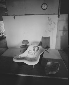 Saul Steinberg doodles on an Eames Recliner