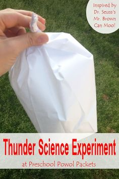 Here is a Quick Inspired-by-Dr. Seuss Thunder Science Experiment Here is a quick inspired-by-Dr. Perfect for preschool, kindergarten, and even older kids-- Weather Activities for Kids Weather Experiments, Weather Science, Science Experiments Kids, Science For Kids, Weather Unit, Science Lessons, Science Expirements, Weather For Kids, Science Center Preschool