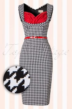 Lindy Bop Vanessa Black and White Houndstooth Pencil Dress 100 14 16486 20150824 0007W1
