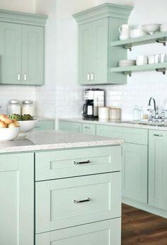 51 Best Bathroom Accessories Beach Cottage - Let's DIY Home Green Kitchen Cabinets, Kitchen Cabinet Colors, New Kitchen, Family Kitchen, Mint Kitchen, Kitchen Furniture, Kitchen Interior, Kitchen Decor, Apartment Kitchen