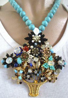 STANLEY HAGLER Amazing Turquoise Glass HUGE Flower Basket Necklace | eBay
