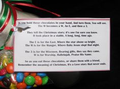 M & M'S Christmas poem. So cute! This would be great for my Dad's side of the family!