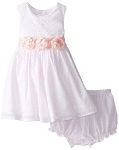 Laura Ashley London Baby Girls Rosette Waist Dress White 18 Months ** You can get more details by clicking on the image.