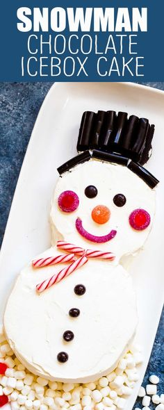 This Snowman Chocolate Icebox Cake is such an easy, fun, and kid-friendly dessert around the holidays. Made with chocolate wafer cookies and whipped cream, decorated with candy. Chill and serve! #HolidayDessert #dessert #iceboxcake #kidfriendly #snowman