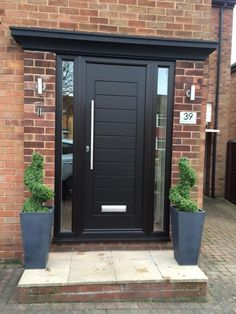 Palermo with 800 bar handle fitted in Yorkshire Front Door Steps, Oak Front Door, Front Door Porch, Porch Doors, House Front Door, Front Door Design, House Entrance, Contemporary Front Doors, Modern Front Door