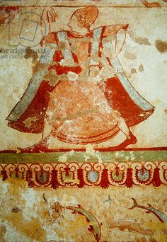 Dancer, from the Tomb of Lions, c.520 BC (wall painting). Etruscan, (6th century BC) / Tarquinia, Lazio, Italy / Giraudon / The Bridgeman Art Library