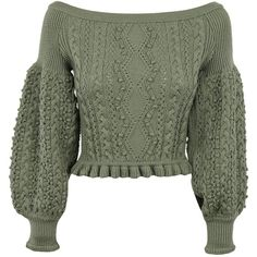 Aran Knit Off Shoulder Sweater (96,020 INR) ❤ liked on Polyvore featuring tops, sweaters, green, knit sweater, long green sweater, cable-knit sweater, off shoulder sweater and off shoulder tops