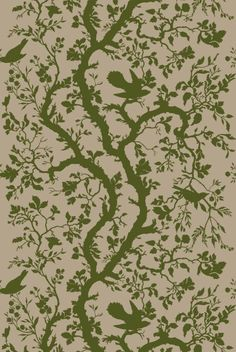 Birdbranch in Olive Green from Timorous Beasties #linen #fabric - if I keep the olive green going throughout the house.  Use in living room or family room?
