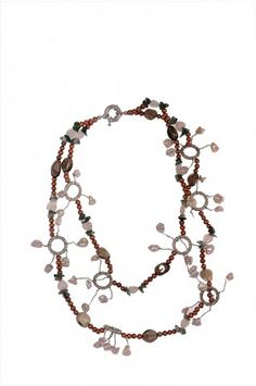 Freshwater Pearl with Stones Layers Necklace at Saintchristine.com