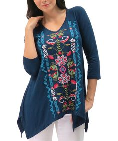 Look at this Caite Navy Embroidered Azura Handkerchief Tunic - Plus on #zulily today!