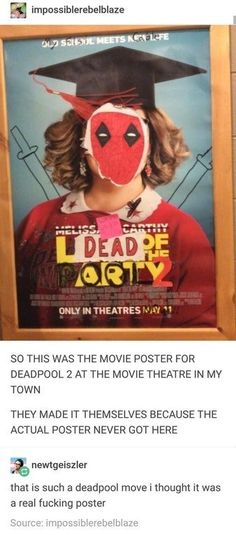 The best part about this is that there's not a single Deadpool fan who would question it if this was a real poster. Dc Memes, Marvel Memes, Funny Memes, Memes Humor, 9gag Funny, Humor Videos, Funny Quotes, Spideypool, Fandoms