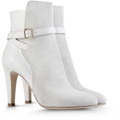 Alberta Ferretti Boots Shoes (26,795 INR) ❤ liked on Polyvore featuring shoes, boots, ankle booties, heels, ankle boots, booties, light grey, alberta ferretti, buckle bootie and light grey boots