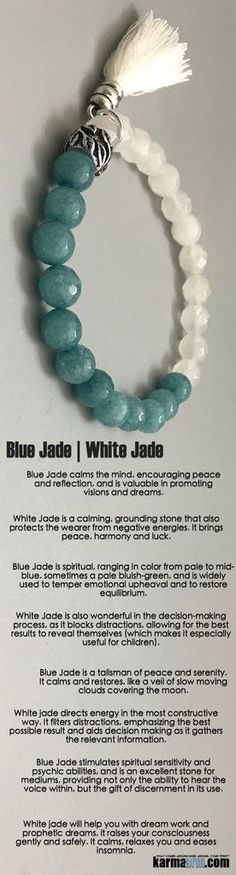 #Blue #Jade calms the mind, encouraging #peace and reflection, and is valuable in promoting #visions and #dreams. #Beaded #Beads #giftsforhim #Bracelet #Bracelets #Buddhist #Chakra #Charm #Crystals #Energy #gifts #Handmade #Healing #Jewelry #Kundalini #LawOfAttraction #LOA #Love #Mala #Meditation #Mens #Reiki #Spiritual #Stacks #Stretch #Womens #Yoga #YogaBracelets #mindfulness #Him #Her #accessories #Art