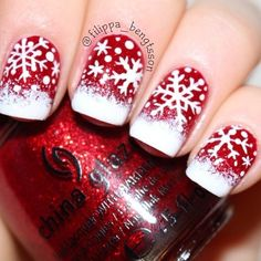 Darn, I knew I'd find the perfect Christmas nail art AFTER I made mine. -_- Bright glittery red and snowflakes! Christmas Holiday Nail Art by filippa_bengtsson Holiday Nail Art, Winter Nail Art, Winter Nail Designs, Christmas Nail Designs, Christmas Nail Art, Winter Nails, Nail Art Designs, Christmas Snowflakes, White Christmas