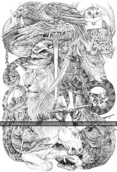 Harry Potter symbolism all done with Bic Pen. by Savannah Burgess.  Casterlyrock.etsy.com