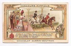 Concours Hippique - Chevaux Cavalier  Chromo Chocolat Guerin Boutron  Trade Card