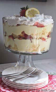 Lemon-Berry Trifle recipe from Served Up With Love. Lemon pound cake, pudding, berries, what is not to love about this impressive dessert. http://www.servedupwithlove.com