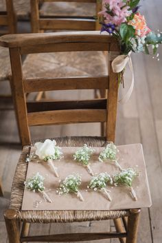 Gyp/Baby's Breath buttonholes with Rustic Twine at Farnham Castle Weddings. Image taken by Married to my Camera and flowers created by Eden Blooms Florist