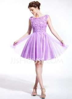 A-Line/Princess Off-the-Shoulder Short/Mini Tulle Charmeuse Homecoming Dress With Beading Sequins (018025268) - JJsHouse