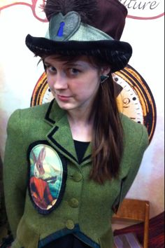 Retro G Couture Rabbit Mori Girl Dolly Kei Lolita Olive Green Tweed Tailcoat and Steampunk boho bohemian  folk Leather Heart Top Hat Alternative Ooak Handmade Edwardian Dandy Women's Fashion Style