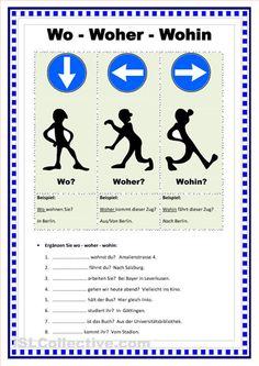 Wo - Woher - Wohin (2 Seiten) Arbeitsblatt - Kostenlose DAF Arbeitsbl�tter