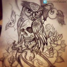dibujos de buhos para tatuajes  Buscar con Google  tatto