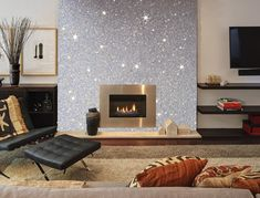 Photo of our Silver Glitter wallcovering put onto a chimney breast.
