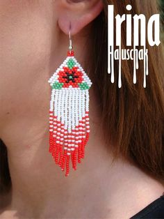 - Capital Of Fasion Perler Bead Designs, Dangly Earrings, Seed Bead Earrings, Beaded Earrings Patterns, Beading Patterns, Beaded Hat Bands, Craft Accessories, Bead Jewellery, Bead Crafts