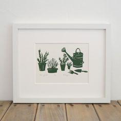 Lino print herb garden by:-Emma Higgins - Printmaker