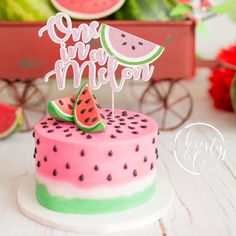 Baby Shower Watermelon, Watermelon Birthday Parties, 1st Birthday Party For Girls, Fruit Birthday, First Birthday Themes, Baby First Birthday, First Birthdays, Watermelon Cakes, 1 Year Old Birthday Cake