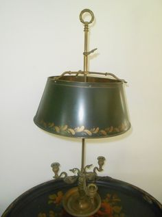 Antique Brass Bouillotte Lamp with Painted by RememberingDiane, $358.00