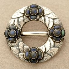 Georg Jensen brooch no. 4 | Handmade, sterling silver with laboradorite | ca. 1915 - 1927