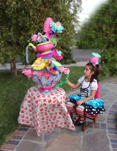 Giant 2 piece 40 inch tall Alice MAd Hatter Tea Party by LaDeeDah2, $425.00