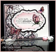 """Image sizes are approximately:Flourish Vines - 5"""" x 4"""" Our Daily Bread Stamps is a Christian based stamp line featuring high quality cling mounted rubber stamps with beautiful Christian images and verses."""