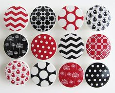 Black and Red Pattern Knobs, Black and Red Ladybug Knobs, Black and White Dots, Squares, Chevron  - Wood Knobs- 1 1/2 Inches - Set of 12