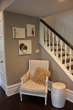 the contrast of dark walls and white woodwork- so elegant and warm!