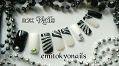 20 Gloss Hand Painted Long square Nail,Black and White Crystal Rhinestones+Glue