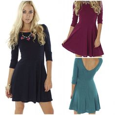 """Your go to dress of the season! NEW """"textured flare dress"""" ($39.99 in wine/jade/navy) available in store and online at www.sophieandtrey.com! #dress #ootd #love #sophieandtrey #freeshipping"""