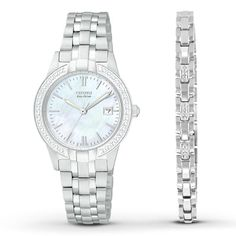 This women's box set from Citizen features a watch crafted of stainless steel and accented with shimmering crystals. A white mother-of-pearl dial, protected by a mineral crystal, enhances the elegance. The set also includes a matching stainless steel bracelet adorned in crystals. Citizen Eco-Drive is fueled by light, any light, so it never needs a battery.