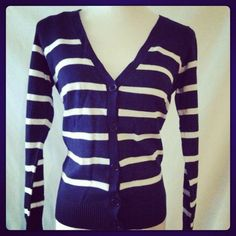 Cardigan Navy/ white stripe cardigan. Only size small left. All other sizes sold out Sweaters Cardigans